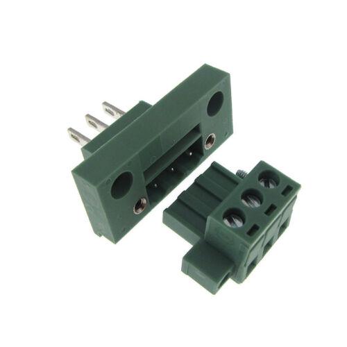 3 Positions 5.08mm Screw Terminal Block Front Flange Panel Mount Header Plug