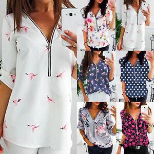 check out daae3 f6095 Details zu Übergroße Damen Blumen Tunika Oberteile Reißverschluss Longbluse  Blusenshirt Top