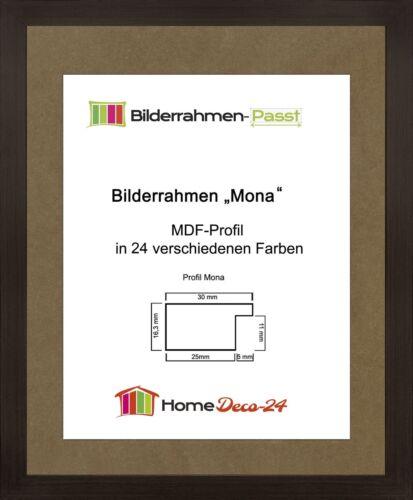 Mona 20,5 x 28,5 cm Bilderrahmen Homedeco 24 Holzwerkstoff Wahl Farbe Verglasung