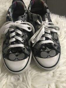 Coach Women  Barrett Sneakers Black Low Top Signature C Monogram Shoe Sneaker 8M