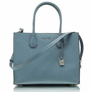 bbc7409f67ba Image is loading Michael-Michael-Kors-Mercer-Large-Convertible-Denim-Blue-