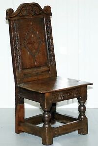 RARE-CIRCA-1760-FRUIT-WOOD-CHAIR-NICELY-CARVED-QUITE-SMALL-18TH-CENTURY-EXAMPLE