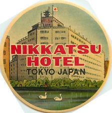 Nikkatsu Hotel ~TOKYO JAPAN~ Colorful Old Luggage Label, c. 1955