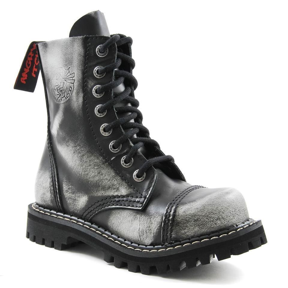 Mr/Ms Angry Itch 8 Hole Punk White Rub Army Off Leather Army Rub Ranger Boot Steel Toe Comfortable feeling high quality Most practical BN2333 377157