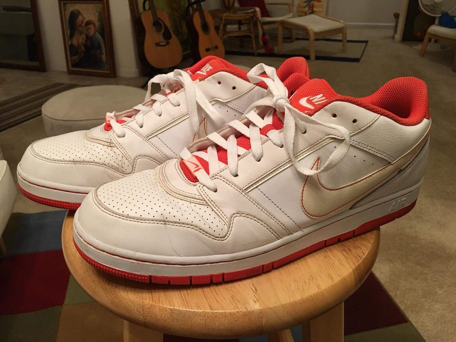 Nike air us15 weiß / orange schneiden männer sportliche Turnschuhe, schuhe, leder