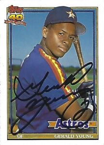 Autographed-Signed-1991-Topps-626-Gerald-Young-Houston-Astros