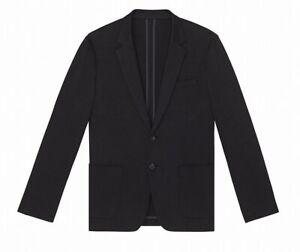 Calvin Klein Mens Black Size Large L Hidden Two Button Blazer Jacket $198 #128