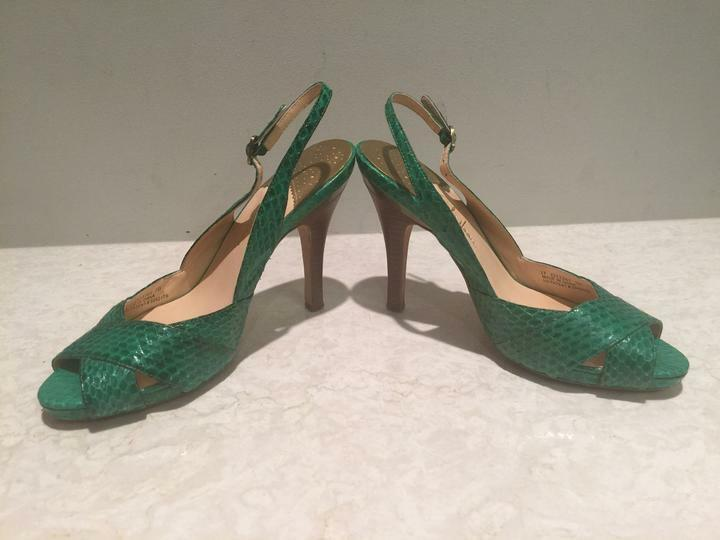 EXC CONDITION Cole Haan Aurora Bright Green Snakeskin Open Toe Slingbacks - 8.5B