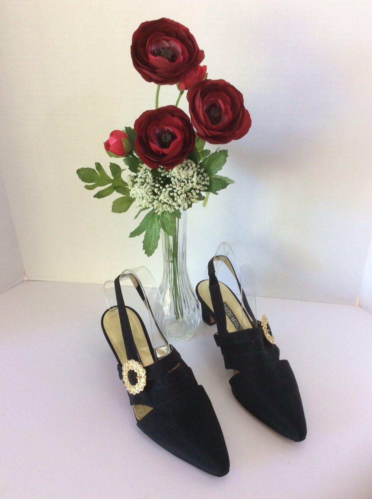 Claudio Merazzi ladies Negro Charol Zapatos Talla Talla Talla 9.5 B  Con broche decorativo   apresurado a ver