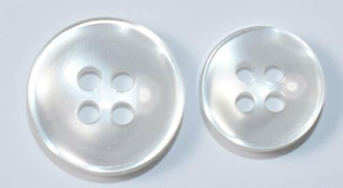 Thick Concave Dress Shirt Buttons 24pc Set 13mm and 10mm Clear//White