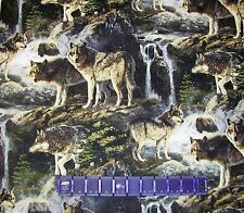 WOLF PACK MOUNTAIN STREAM WOLVES PREDATOR on COTTON FABRIC Priced By The YARD