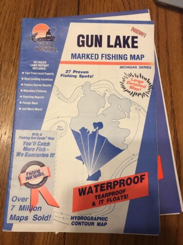 Gun Lake marked fishing map Ships N 24h