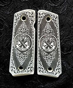 Springfield-Armory-1911-full-custom-ivory-scrimshaw-grips-scroll-Logo-Checkered