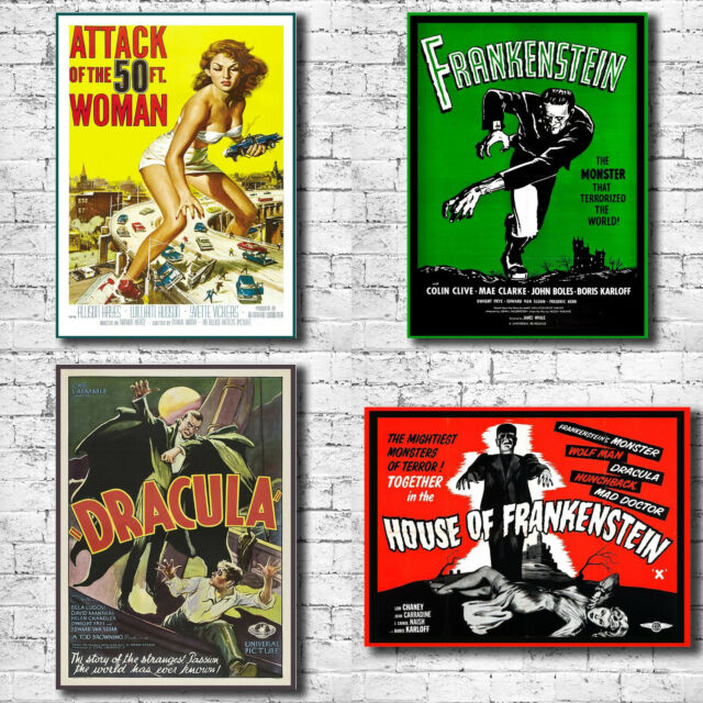 Vintage Horror B Movie Poster Canvas Art Print - Bela Lugosi Black Cat Dracula