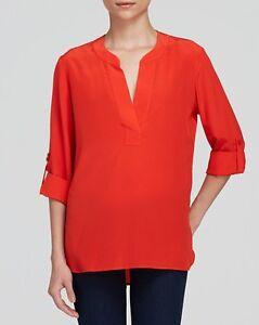 5feb3248 Diane von Furstenberg Tango Orange DVF Esti Silk L/S Top $268 NWT 0 ...
