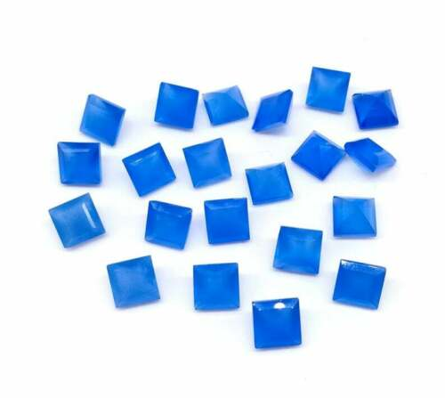 Details about  /Wholsale 3x3mm To 10x10mm Natural Blue Chalcedony Square Facted Loose Gemstones