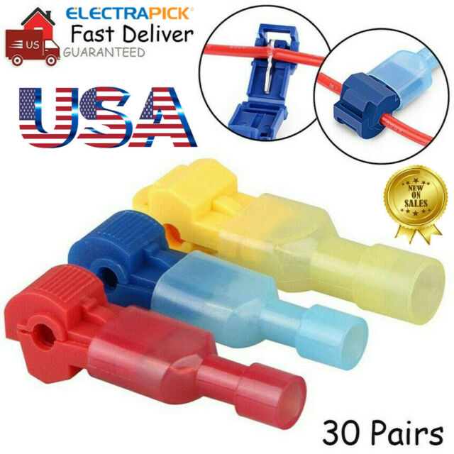 60Pcs T-Tap Splice Wire Connector Insulated Spade Electrical Crimp Terminals Kit