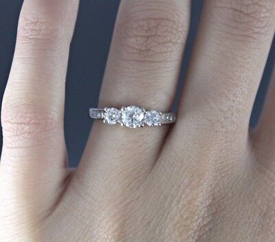 6f91eddc0d1c0 $2,799 Zales Past Present Future 14K White Gold 1.00ct Diamond Engagement  Ring | eBay