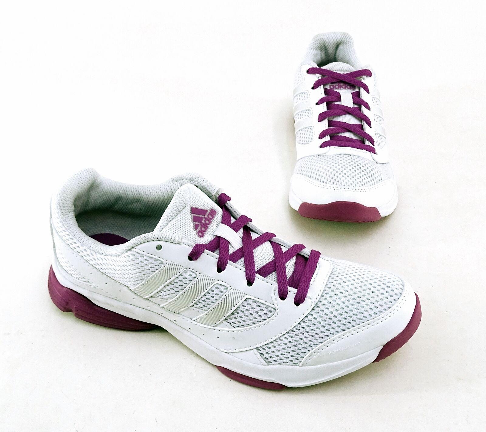 Laufschuhe Adidas training Indoor Kunstleder Textil white purple Gr. 6 = 39 1 3