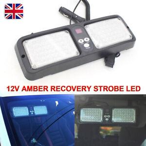 12 volt AMBER RECOVERY STROBE LED LIGHTS ORANGE sun visor mount ROADWORKS BEACON