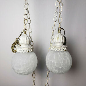 Details About Vtg Hanging Swag White Le Gl Light Fixture Moe Thomas Industries