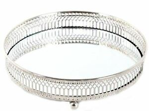 Vintage-Mirror-Tray-Silver-Lace-Candle-Plate-Votive-Trinkets-Wedding-Decoration