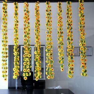 Artificial-Sunflower-Garland-Silk-Flower-Vine-Home-Wedding-Garden-Fence-Decor
