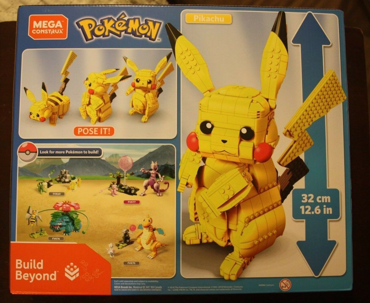 Mega Construx Pokemon Jumbo Pikachu NEW NEW NEW IN BOX POSE IT 32cm 12.6 INCHES SOLD OUT 947779