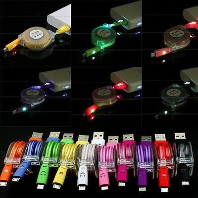 1PC Retractable LED Light Micro USB Data & Sync Charger Cable For Android phone