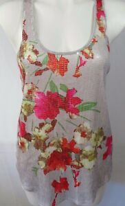 Express-Womens-Medium-Tank-Top-Gray-Pink-Floral-Print-Sequin-Scoop-Neck-Stretch