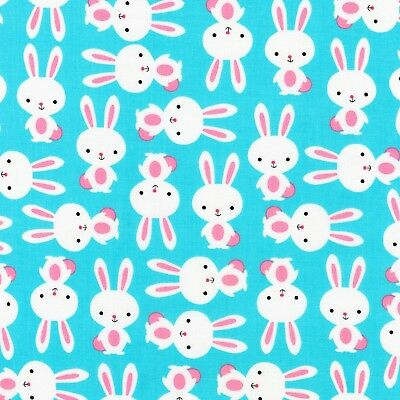 Fabric Springtime Bunny Rabbits /& Eggs Easter Full on Blue Cotton by 1//4 yard