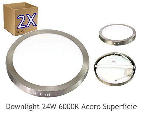 2x Faretto LED 24W 6000ºK luce fredda rotondo superficie finitura (v4m)