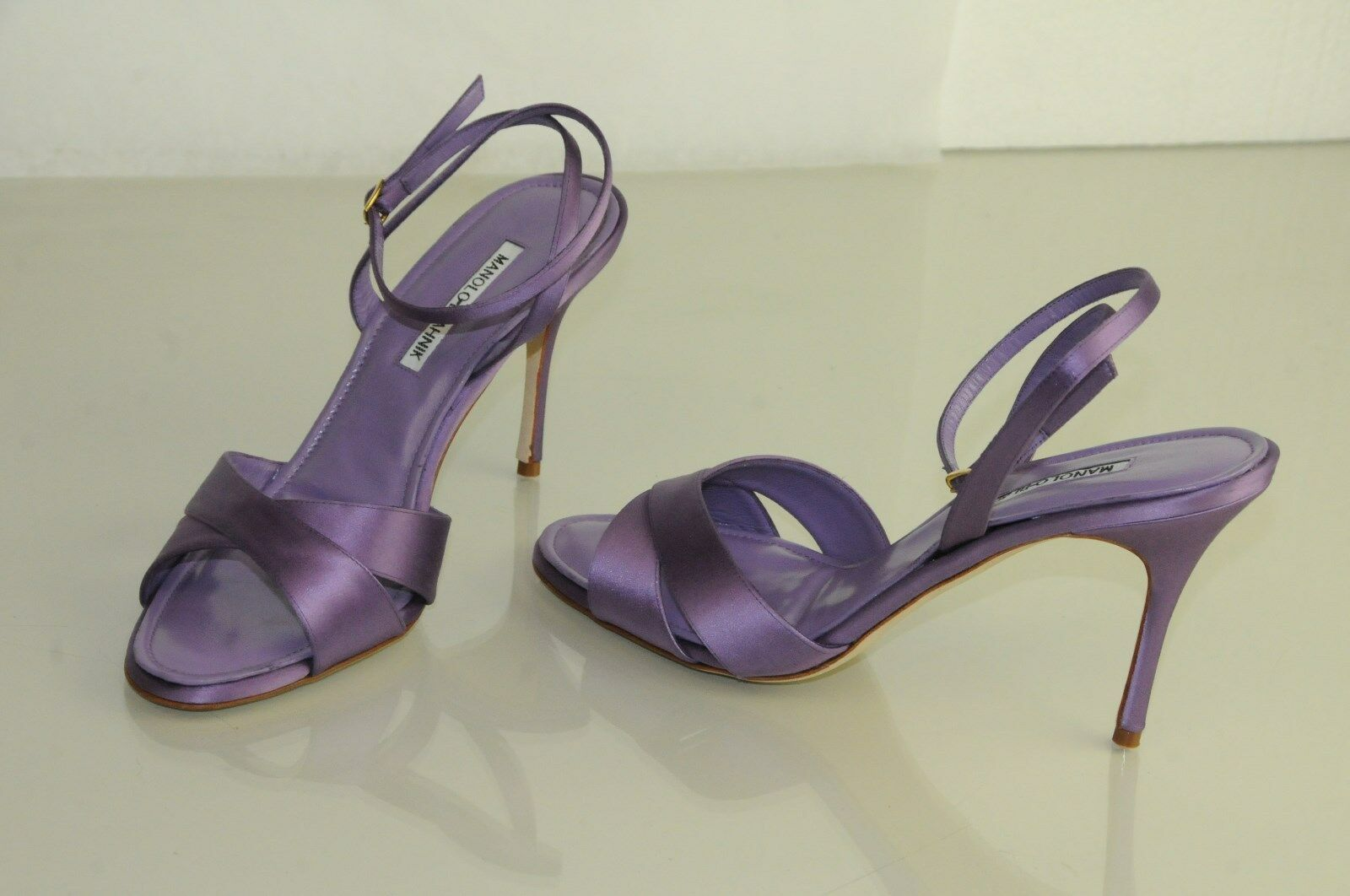 895 New Manolo Blahnik Royal Purple Satin Ankle Strap Sandals shoes 40.5