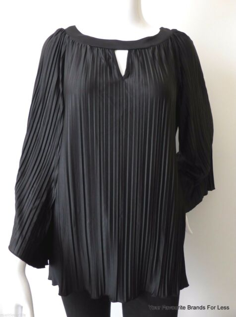 NONI B rrp $129.00 Size Small Black Pleated Long Sleeve Top