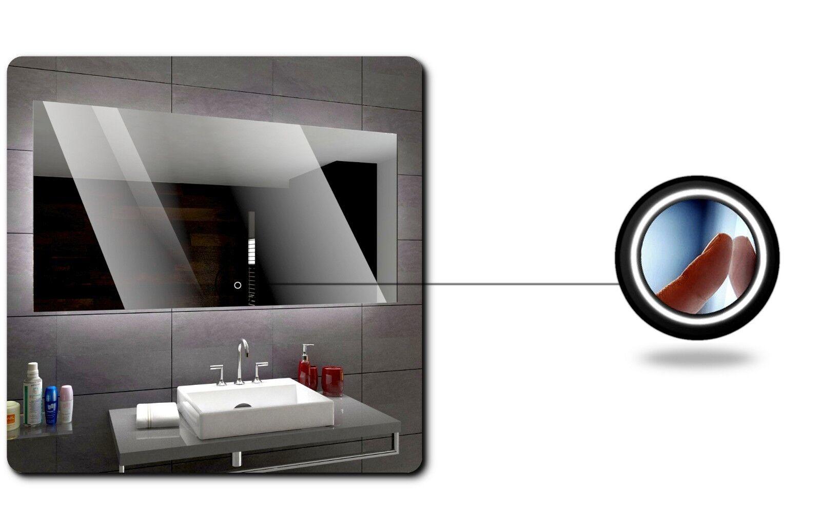Hobart  Espejo de baño con iluminación LED pa rojo  Hobart Touch azultooth Reloj 5b9beb