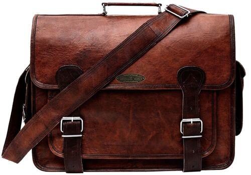 Men/'s Vintage 100/% Real Leather Military Large 18 Laptop Shoulder Messenger Bag