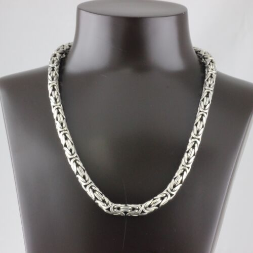 Geniune Solid 925 Sterling Silver Handmade Byzantine Bali Chain Necklace 8mm