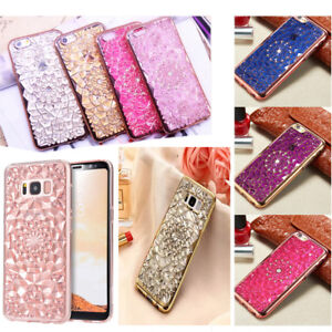 low priced c448b 71b9f Details about 3D Diamond Flower Bling TPU Gel Case Back Cover For Various  Mobile Phone
