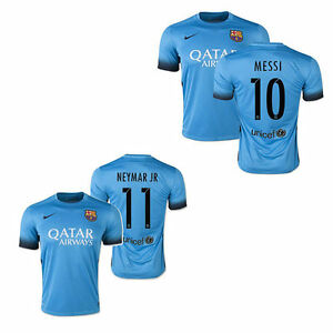 c00e47a63 Lionel Messi Neymar Jr FC Barcelona Nike Third Teal Blue Mens Jersey ...