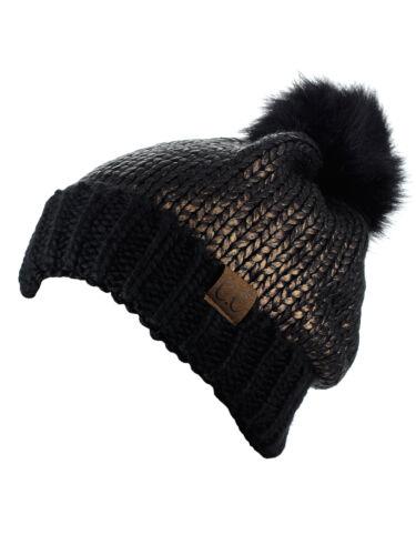 C.C Women/'s Faux Fur Pom Shiny Metallic Finished Knit CC Beanie Hat New