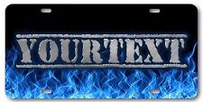 Blue Flames Stone Text Aluminum License Plate Tag Your Custom Name Personalized