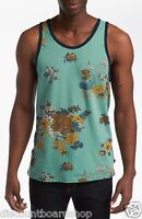 Obey Vacation Canton Blue Brown Yellow Floral Design Sleeveless Men's Tank Top