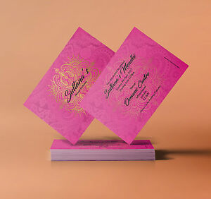 Detalles De Mehndi Mubarak Invitación Rosa Oro Tarjetas De Felicitación Doble Cara Ver Título Original