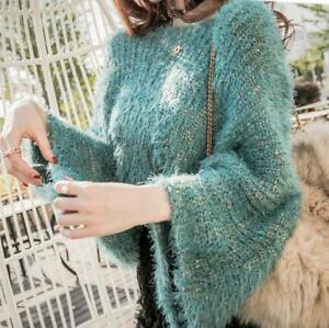 Women-Mixed-Color-Horn-Sleeve-Sweater-Mohair-Off-the-shoulder-Sweater-Yoooca