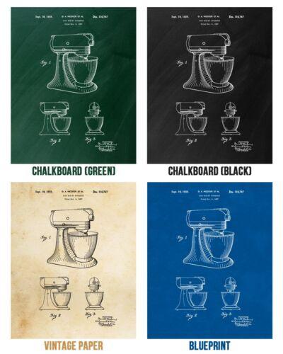 Stand Mixer Poster Print Culinary Gifts Kitchen Art Mixer Blueprint Cooking Gift