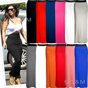 Gypsy-Maxi-Skirt-Plain-Long-Stretch-Gypsy-Jersey-Dress-Plus-Size-Womens-Ladies