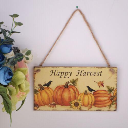 Vintage Wooden Hanging Plaque Harvest Fall Board Pumpkin Thanksgiving Gift Sign