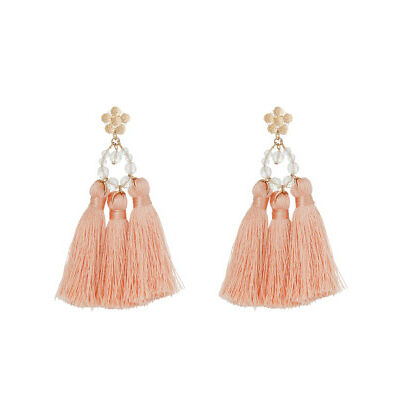 NEW Piper PIPJ0573 Facet Bead + Tassel Statement Earring Blush