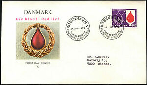 Denmark-1974-Blood-Donors-Campaign-FDC-First-Day-Cover-C40858