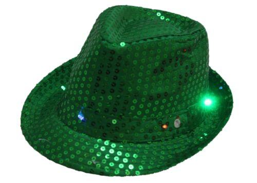 Smiffys Green Sequin Trilby Hat Light Up St Patricks Jour accessoire robe fantaisie